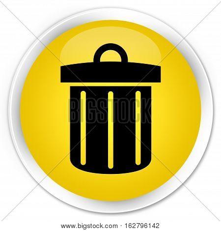 Recycle Bin Icon Premium Yellow Round Button