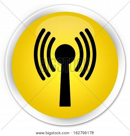 Wlan Network Icon Premium Yellow Round Button