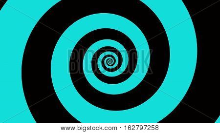 Blue & black spiral Optical illusion illustration, abstract background graphics asset, Hypnotising whirlpool effect