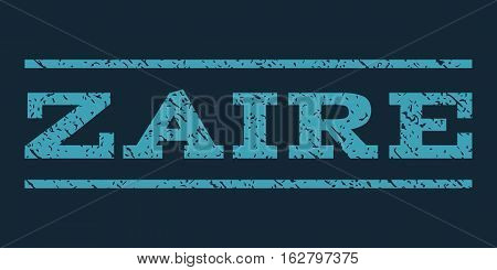 Zaire watermark stamp. Text tag between horizontal parallel lines with grunge design style. Rubber seal stamp with dirty texture. Vector blue color ink imprint on a dark blue background.