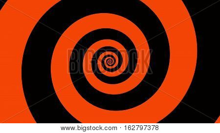 Orange & black spiral Optical illusion illustration, abstract background graphics asset, Hypnotising whirlpool effect