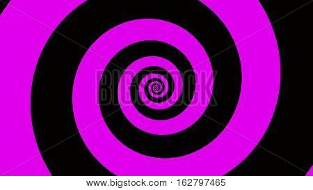 Pink & black spiral Optical illusion illustration, abstract background graphics asset, Hypnotising whirlpool effect