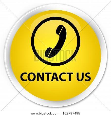 Contact Us (phone Icon Round Border) Premium Yellow Round Button