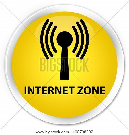 Internet Zone (wlan Network) Premium Yellow Round Button