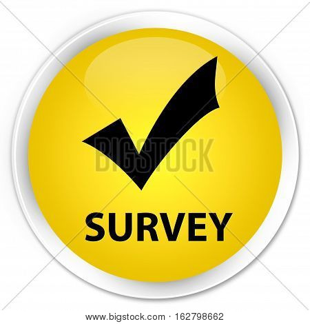 Survey (validate Icon) Premium Yellow Round Button