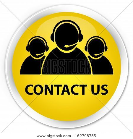 Contact Us (customer Care Team Icon) Premium Yellow Round Button