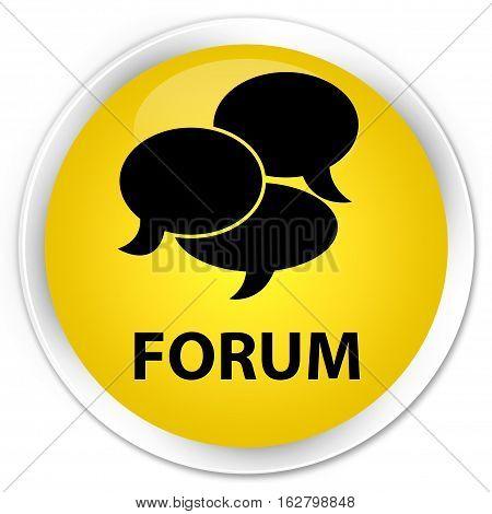 Forum (comments Icon) Premium Yellow Round Button