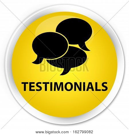 Testimonials (comments Icon) Premium Yellow Round Button