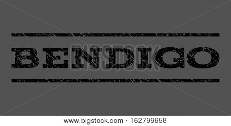 Bendigo watermark stamp. Text caption between horizontal parallel lines with grunge design style. Rubber seal stamp with unclean texture. Vector black color ink imprint on a gray background.