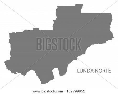 Lunda Norte Angola Map grey province silhouette illustration