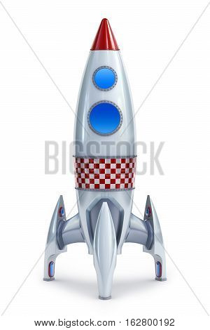 3d Illustration retro style rocket isolated on a white back