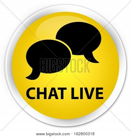 Chat Live Premium Yellow Round Button