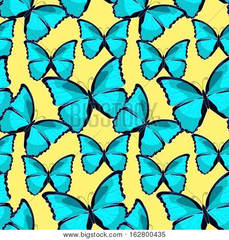 Seamless Pattern The Butterfly Blue Morpho Monarch. Vector Illustration
