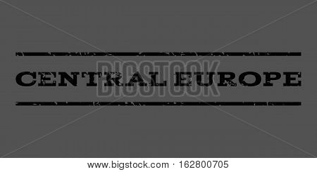 Central Europe watermark stamp. Text caption between horizontal parallel lines with grunge design style. Rubber seal stamp with unclean texture. Vector black color ink imprint on a gray background.