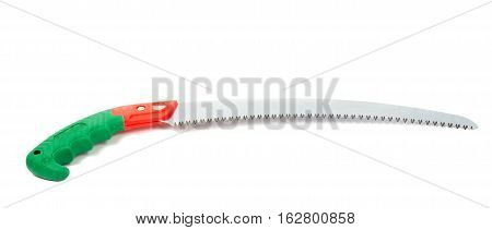 Hand saw with a green handle isolated on a white background