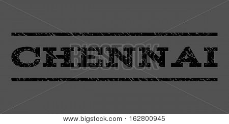 Chennai watermark stamp. Text caption between horizontal parallel lines with grunge design style. Rubber seal stamp with dust texture. Vector black color ink imprint on a gray background.