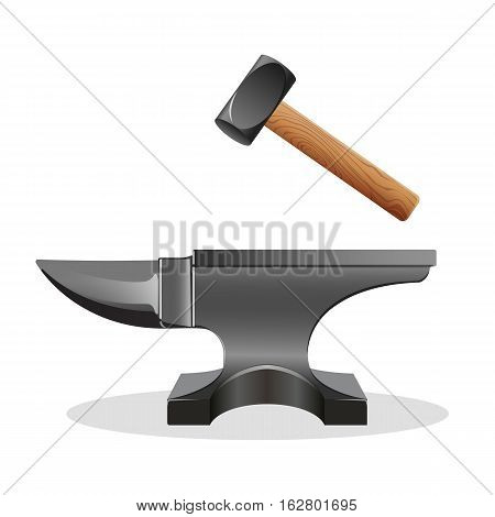 Anvil icon with hammer isolated on white. Block with hard surface on which another object is struck. Massive smith s hammer. Used as a forging tool. Primary tool of metal workers. Vector illustration