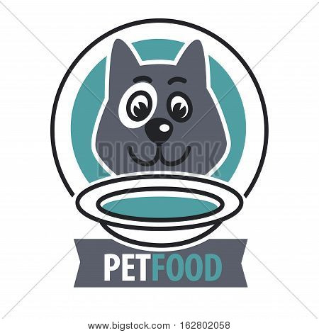 Pet food logo with dog icon. concept of veterinary, visual identity. Vector Illustration.