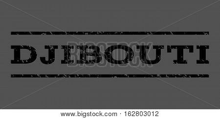 Djibouti watermark stamp. Text caption between horizontal parallel lines with grunge design style. Rubber seal stamp with unclean texture. Vector black color ink imprint on a gray background.