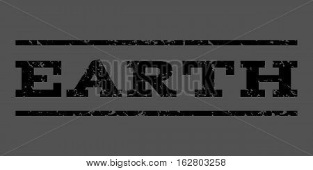 Earth watermark stamp. Text tag between horizontal parallel lines with grunge design style. Rubber seal stamp with dust texture. Vector black color ink imprint on a gray background.