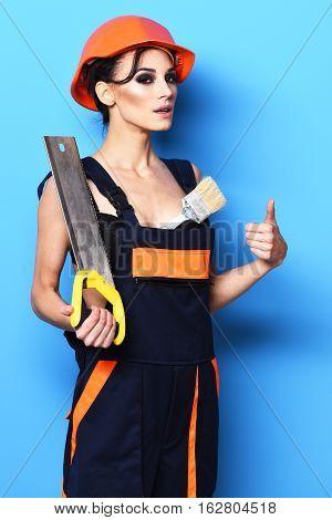 Serious Cute Sexy Builder Girl