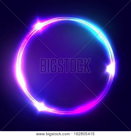 Neon sign. Round frame with glowing and light. Electric bright 3d circuit banner design on dark blue backdrop. Neon abstract circle background with flares and sparkles. Vintage vector illustration.