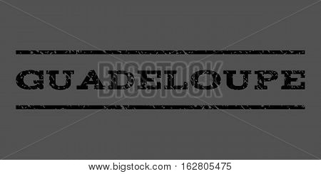 Guadeloupe watermark stamp. Text caption between horizontal parallel lines with grunge design style. Rubber seal stamp with unclean texture. Vector black color ink imprint on a gray background.