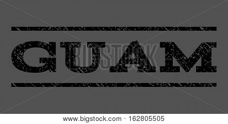 Guam watermark stamp. Text caption between horizontal parallel lines with grunge design style. Rubber seal stamp with dust texture. Vector black color ink imprint on a gray background.