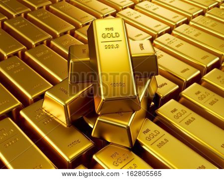 Stacked gold bars (3d render), finance concept background