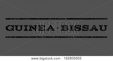 Guinea-Bissau watermark stamp. Text tag between horizontal parallel lines with grunge design style. Rubber seal stamp with dirty texture. Vector black color ink imprint on a gray background.