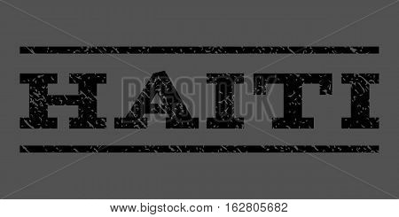 Haiti watermark stamp. Text tag between horizontal parallel lines with grunge design style. Rubber seal stamp with dust texture. Vector black color ink imprint on a gray background.