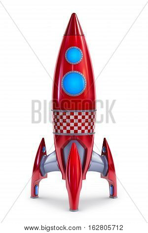 old style rocket isolated on white 3d render
