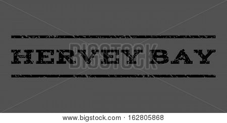 Hervey Bay watermark stamp. Text caption between horizontal parallel lines with grunge design style. Rubber seal stamp with dust texture. Vector black color ink imprint on a gray background.