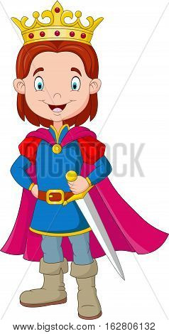 Vector illustration of Cartoon boy wearing prince costume