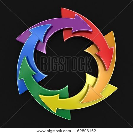 3D Illustration. Color Circular Graph. Image with clipping path