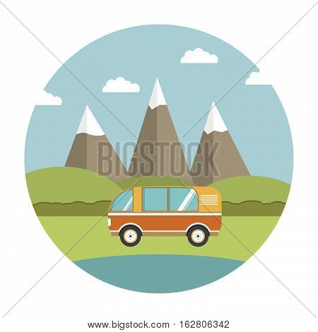 Vector flat about a landscape with mountains and the tourist van.Road travel in the van.Design element for a poster about a travel on roads and the nature.  The tourist van for all family.