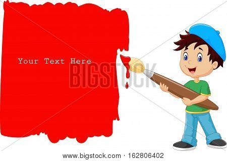 Vector illustration of Little boy painting the wall