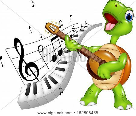 Vector illustration of Cartoon happy turtle singing with piano keyboard