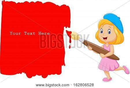 Vector illustration of Little girl painting the wall