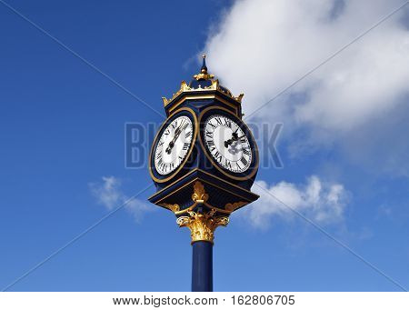 Big clock in a beautiful sky in Birmingham, United Kingdom
