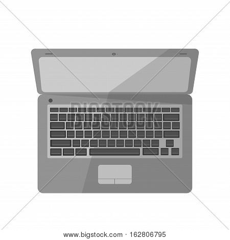 Vector icon of laptop. Symbol business equipmens: modern tech, computer technology, digital portable pc. Notebook illustration in flat design. Modern device, isolated on white background.