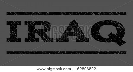 Iraq watermark stamp. Text caption between horizontal parallel lines with grunge design style. Rubber seal stamp with scratched texture. Vector black color ink imprint on a gray background.