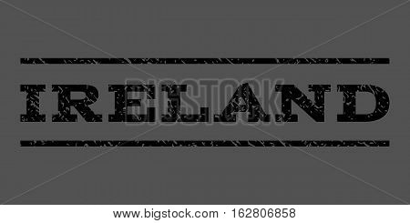 Ireland watermark stamp. Text tag between horizontal parallel lines with grunge design style. Rubber seal stamp with unclean texture. Vector black color ink imprint on a gray background.