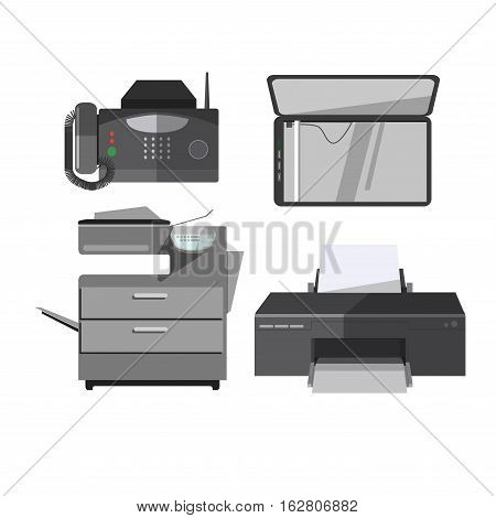 Vector icon of office tools. Digital electronic technology equipment: printer, copy machine, fax and scan. Illustration in flat design. Modern devices, isolated on white background.
