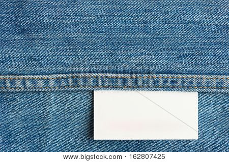 white jeans texture tag close up. Horizontal jeans background with stitches