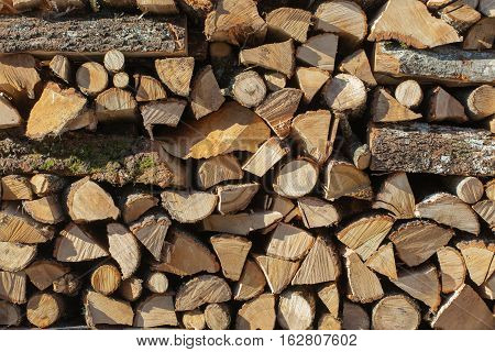 Close up of firewood stack background .