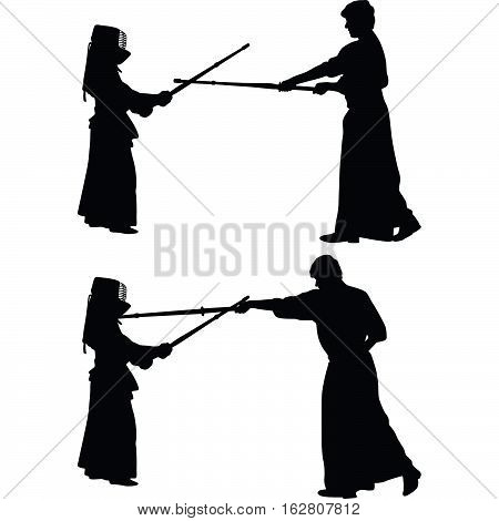 kendo traditional martial art japanese sport silhouette vector