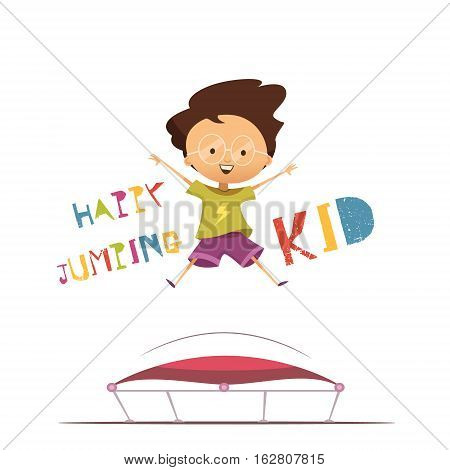 Happy cartoon preschool kid jumping on trampoline flat vector illustration in retro style on white background
