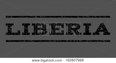 Liberia watermark stamp. Text caption between horizontal parallel lines with grunge design style. Rubber seal stamp with unclean texture. Vector black color ink imprint on a gray background.