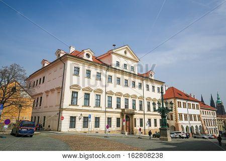 PRAGUE CZECH REPUBLIC - APRIL 4 2016: Building in Hradcany Prague Czech Republic